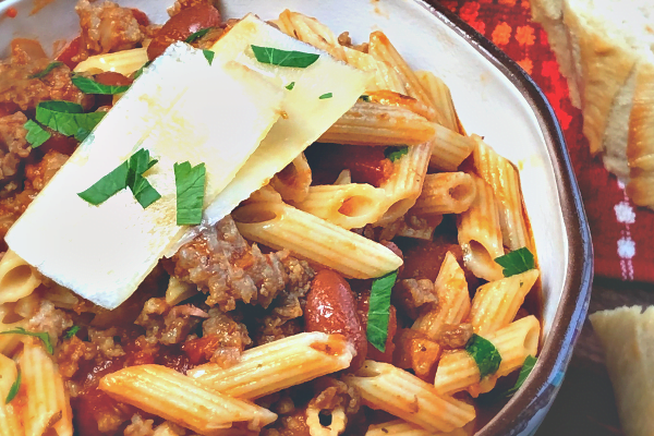 We make huge pots of this Pasta Fagioli during the cold weather months here in Kansas. There's truly not one thing that comforts my soul more than a bowl of this warming, delicious Italian soup. #soup #Italian #OnePot #beef #sausage #pasta #comfortfood