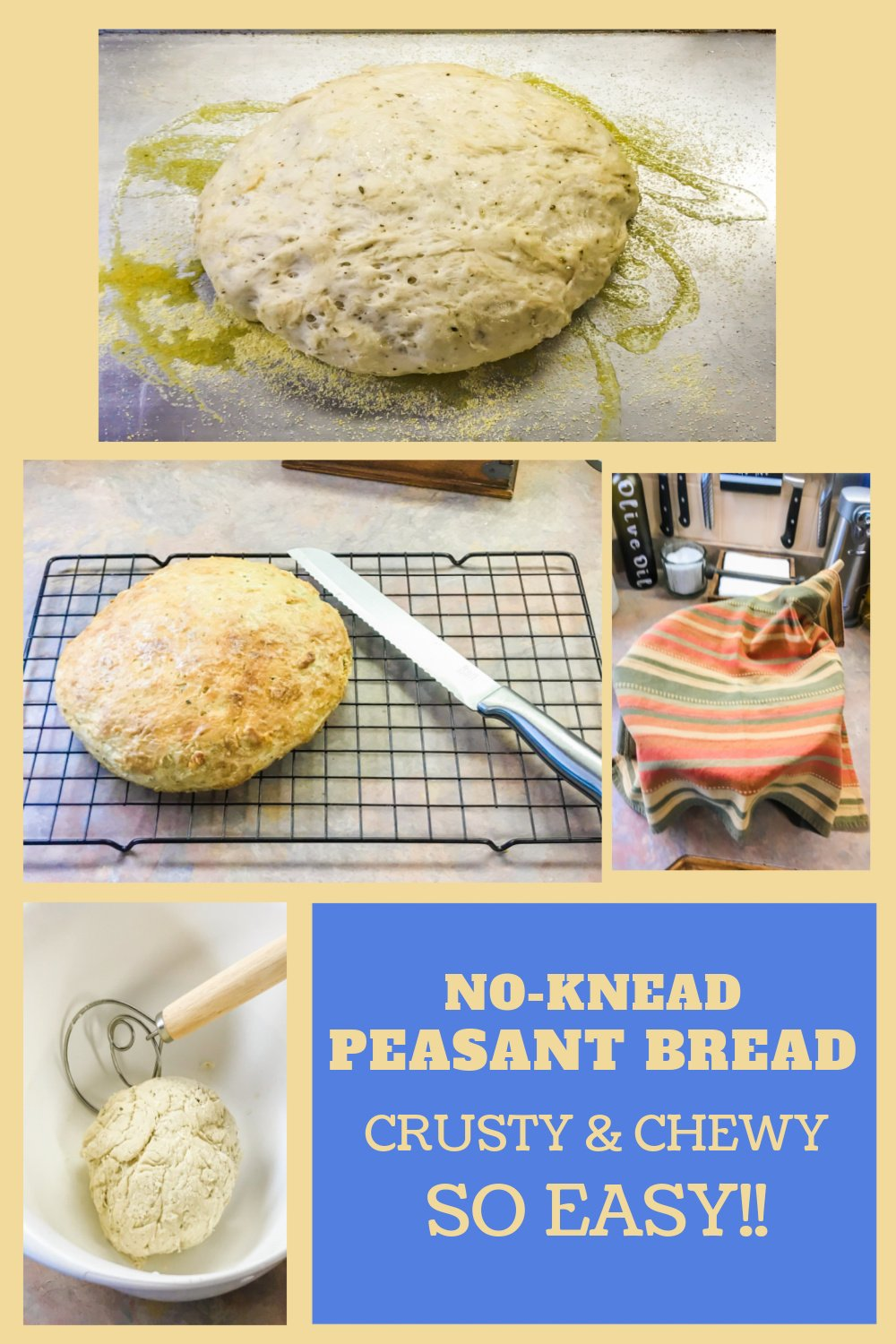 The steps for making peasant bread start to finish.