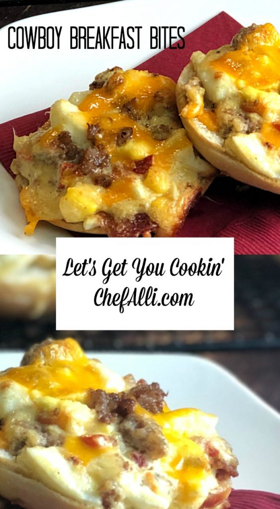 Cowboy Breakfast Bites are English muffins piled high with eggs, sausage and cheese.