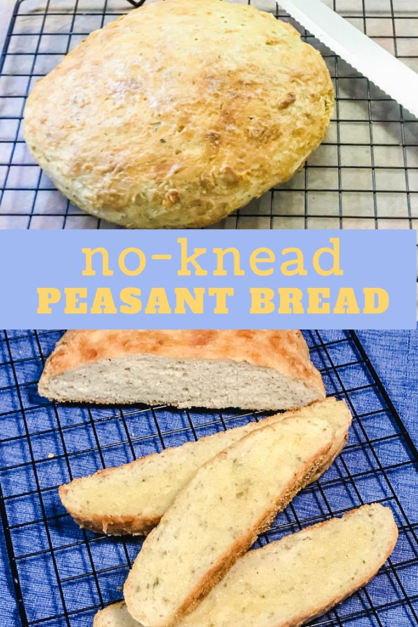 A loaf of peasant bread with buttered slices alongside.