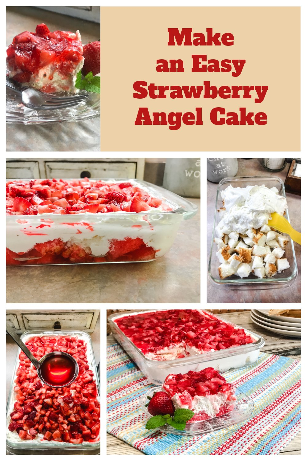The easy steps to making Strawberry Angel Dessert.