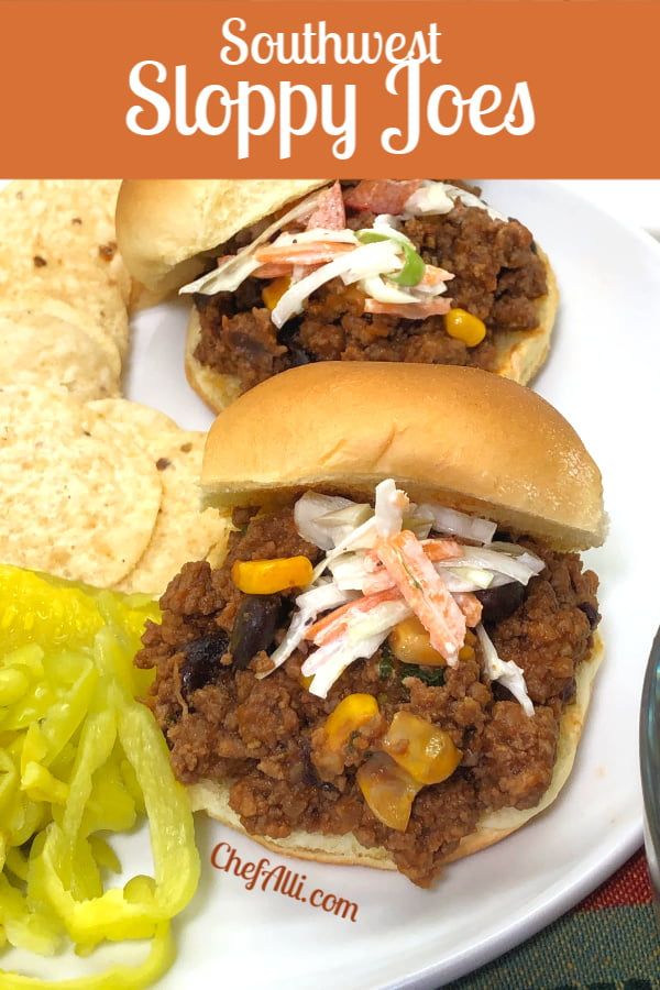 Two sloppy joes on a plate.