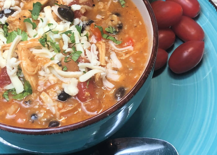 White Chicken and Rice Chili is hearty and warming.