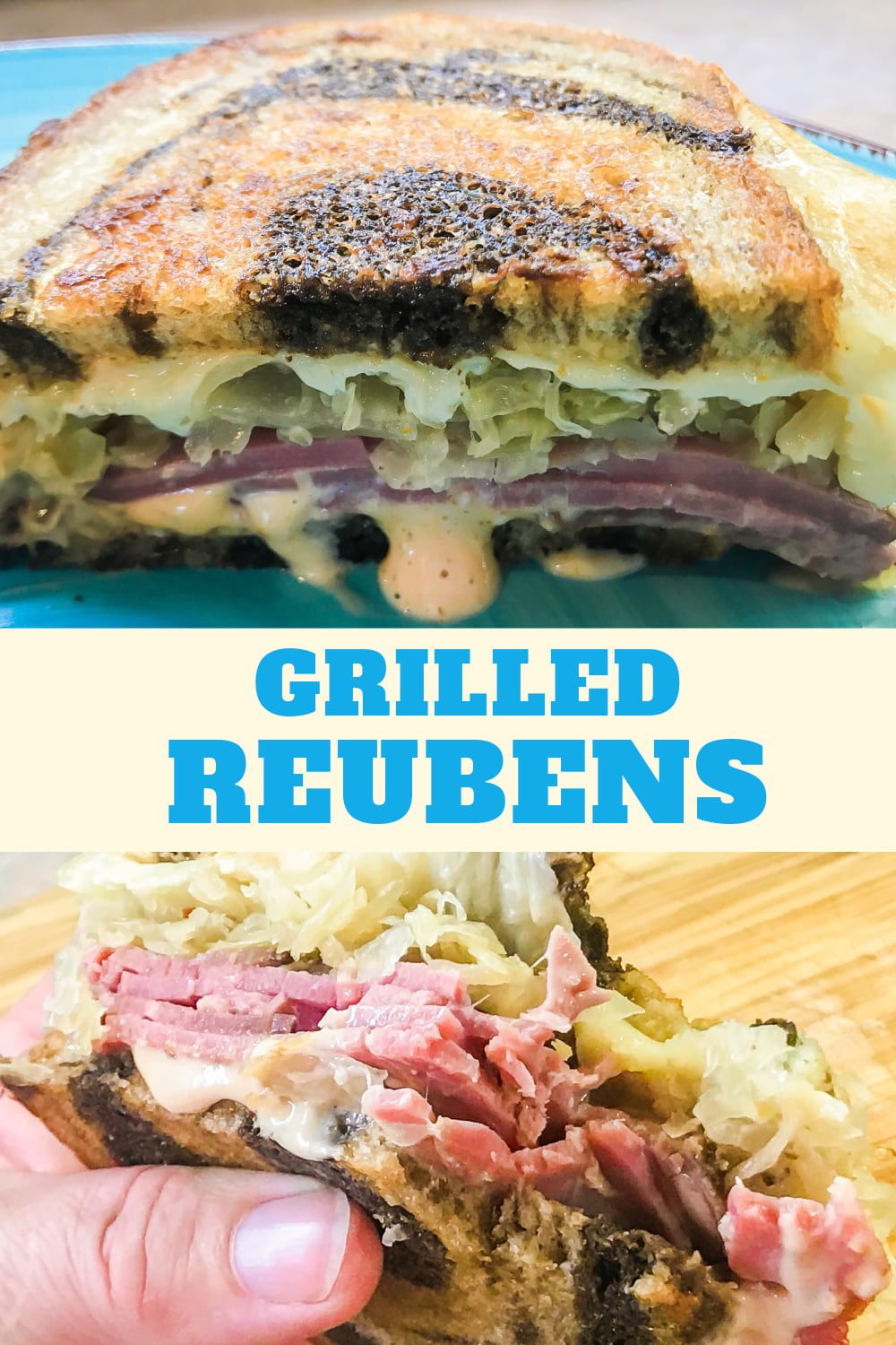 Upclose shots of Grilled Reuben Sandwiches.