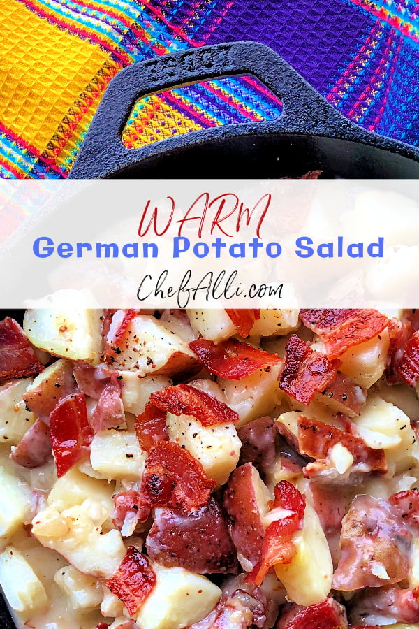 Here it is, folks! The ultimate summer salad: Warm German Potato Salad. I love how this potato salad comes together perfectly with just a few key ingredients - red potatoes, bacon, and a tangy vinegar-based dressing.