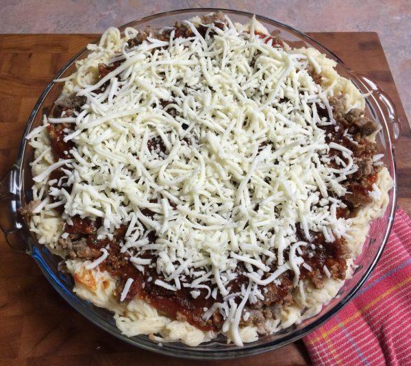 spaghetti pie ready to bake.