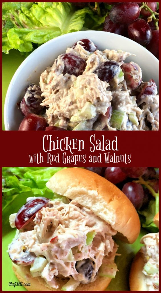 Chicken Salad with Grapes and Walnuts is an easy summer meal and delicious on a bun or in a bowl.