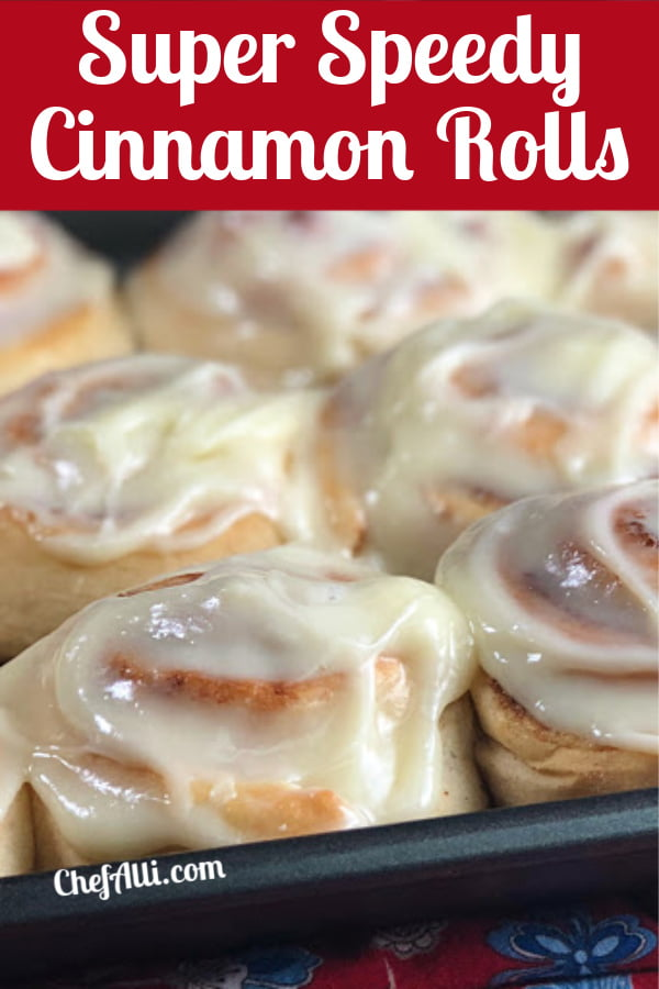 A pan of frosted cinnamon rolls