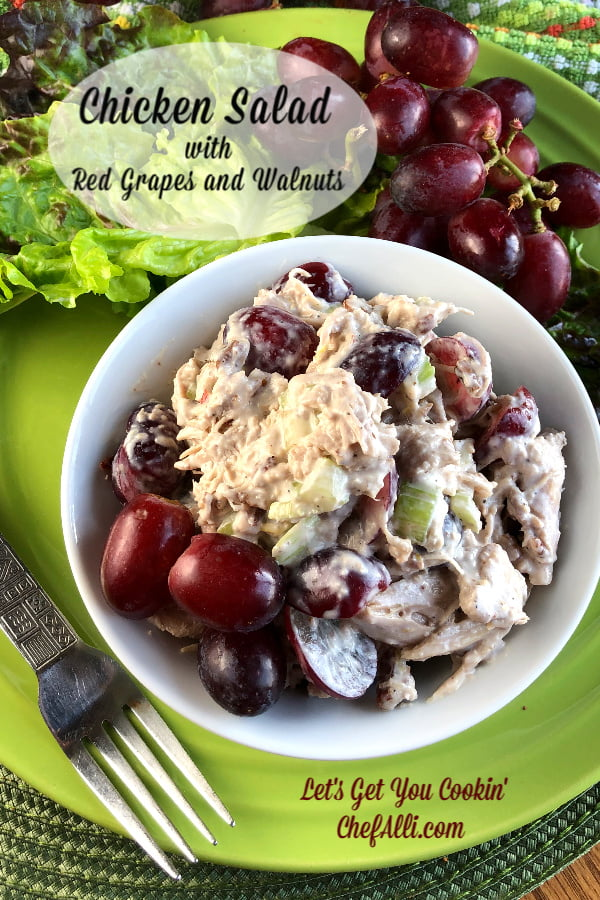 Are you ready for Chicken Salad with Red Grapes and Walnuts? This chicken salad makes a nice, refreshing summer meal or sandwich and we actually enjoy it year round.