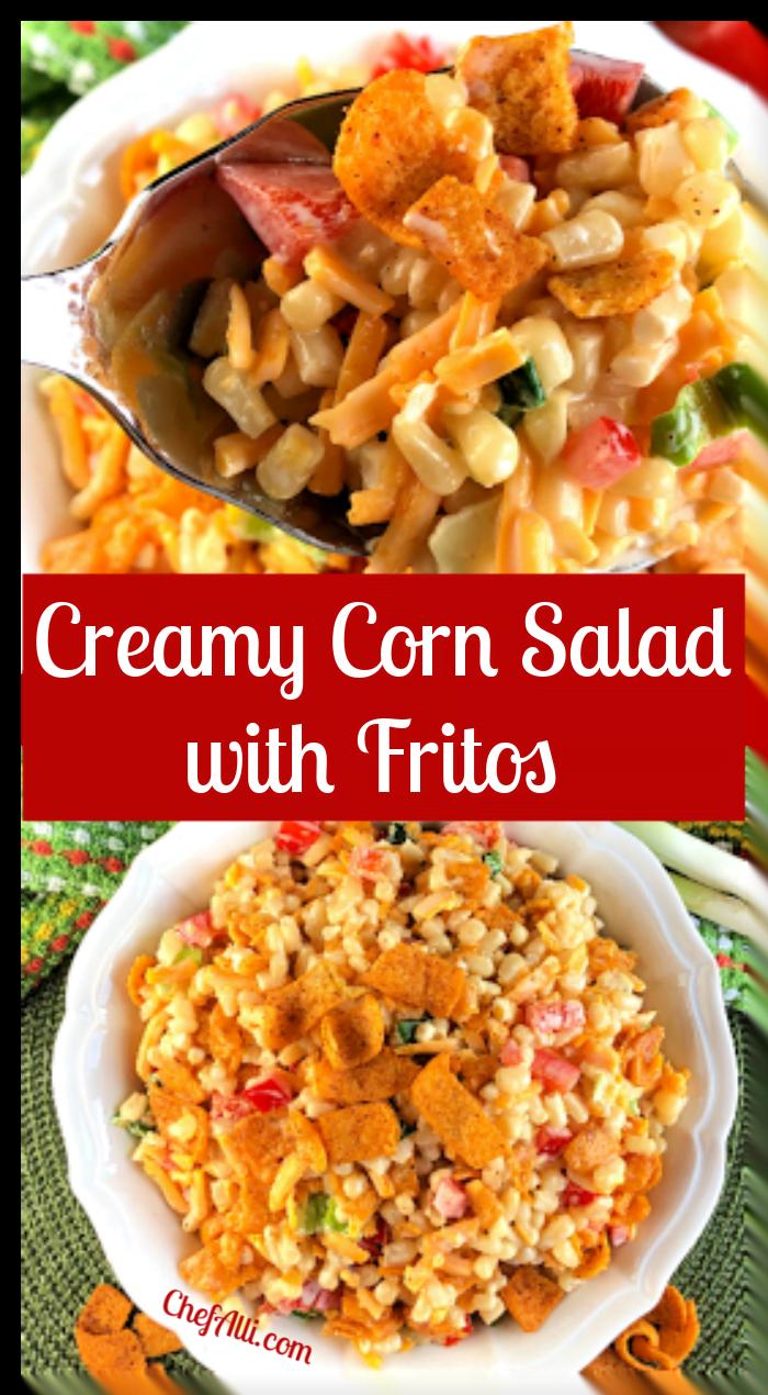 A bowl of corn salad.