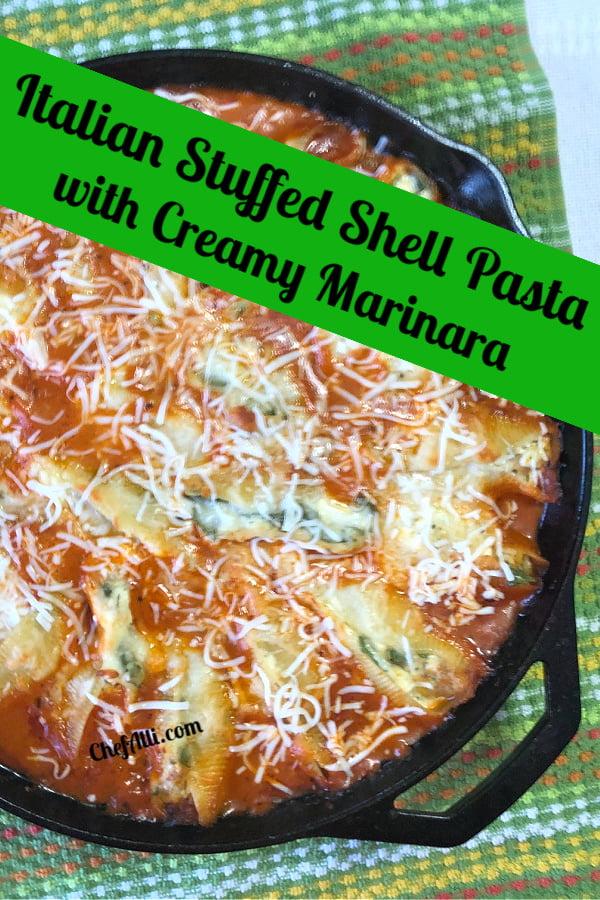 Serve yourself some Italian Stuffed Shell Pasta with Creamy Marinara.
