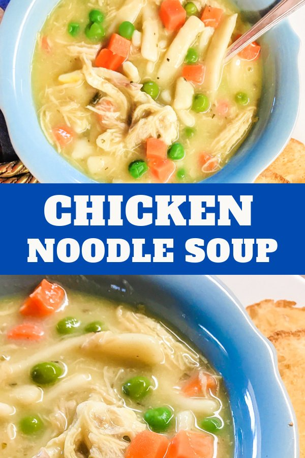 Warm and cozy chicken noodle soup in bowls.