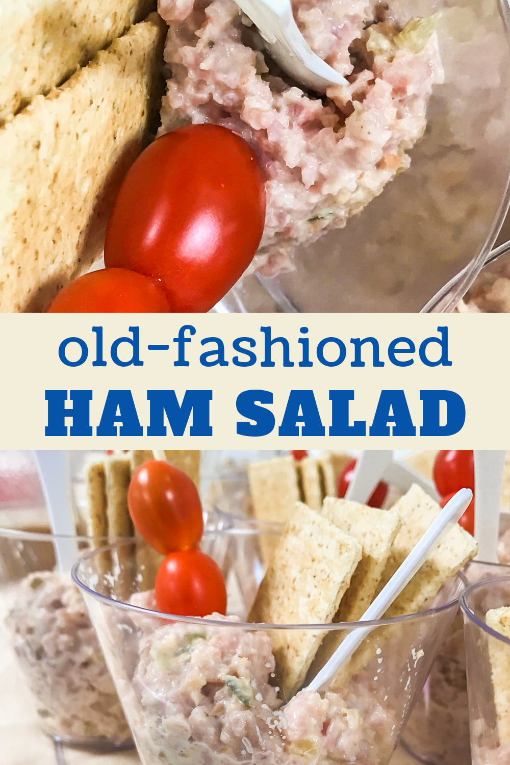 Ham salad as an appetizer served with crackers and grape tomatoes.