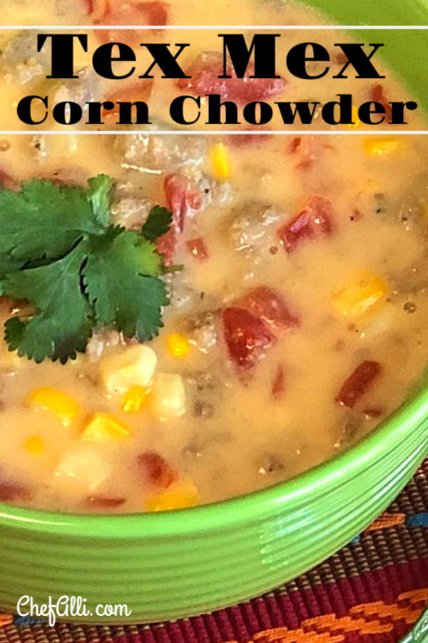 """Are you yearning for a super tasty """"dump and go"""" soup? Dig into this hearty Tex Mex Corn Chowder! This one-pot chowder is basic enough for the kids to love, yet complex enough for the grownups to enjoy as a well. Pair it with corn muffins and a toasty fireplace for maximum warming effect! #cornchowder #chowder #soup #texmex #comfortfood"""
