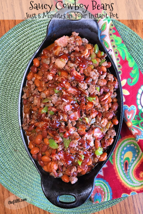 Saucy Cowboy Beans are hearty and filling, all simmered in a sweet and tangy bbq sauce with molasses in your favorite cast iron skillet or rocked-out in your Instant Pot.