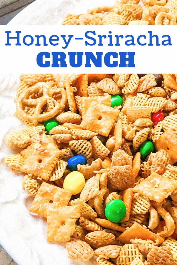 Assorted cereals and crackers for a spicy sweet snack mix.