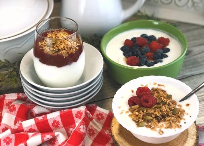 yogurt in three different bowls