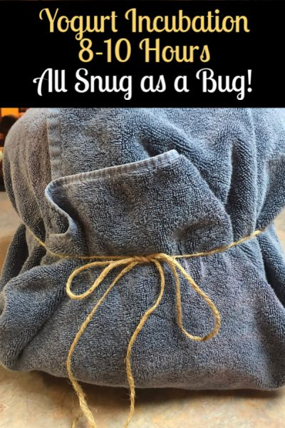 Instant Pot wrapped in a blue towel tied with a string.
