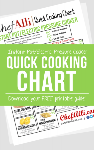 This FREE Printable Cooking Chart makes quick work of 14 common Instant Pot foods and will ensure Instant success for any new Electric Pressure Cooker user!