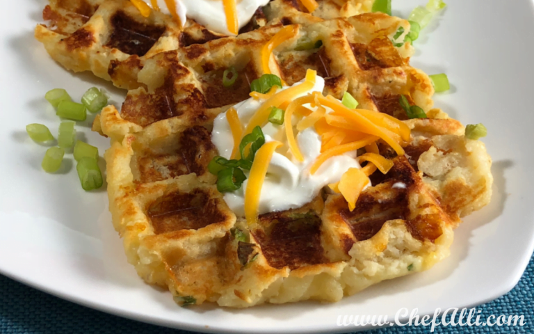 Leftover Cheddar Mashed Potato Waffles are a comforting side or snack for any occasion.