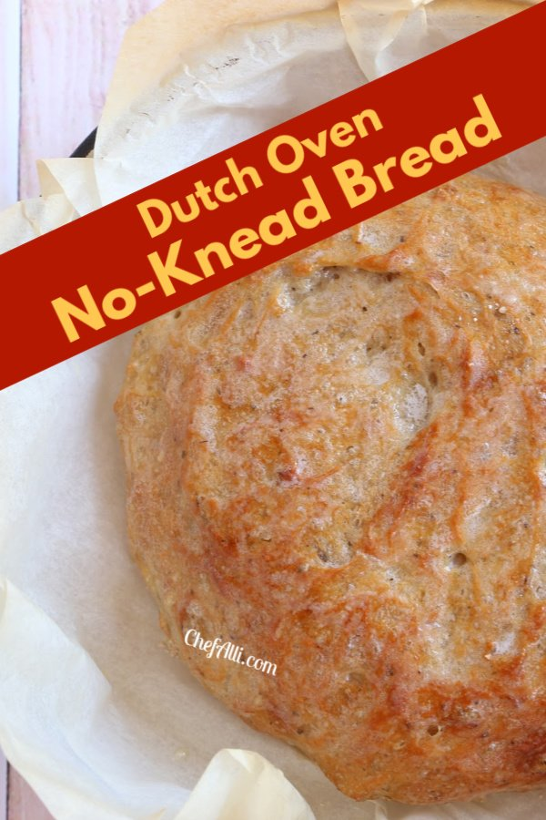 A round baked loaf of Dutch Oven No-Knead Bread.
