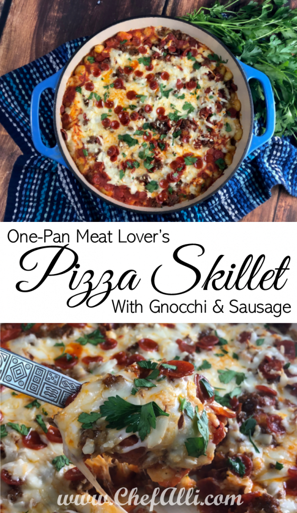 One-pan Pizza Gnocchi skillet with sausage, hamburger, and pepperoni will satisfy everyone in the family!