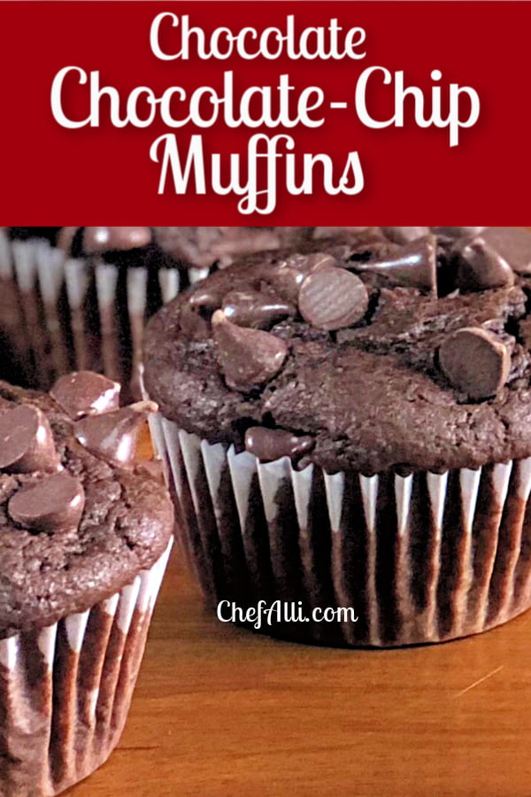 Chocolate chocolate-chip muffins on a platter.