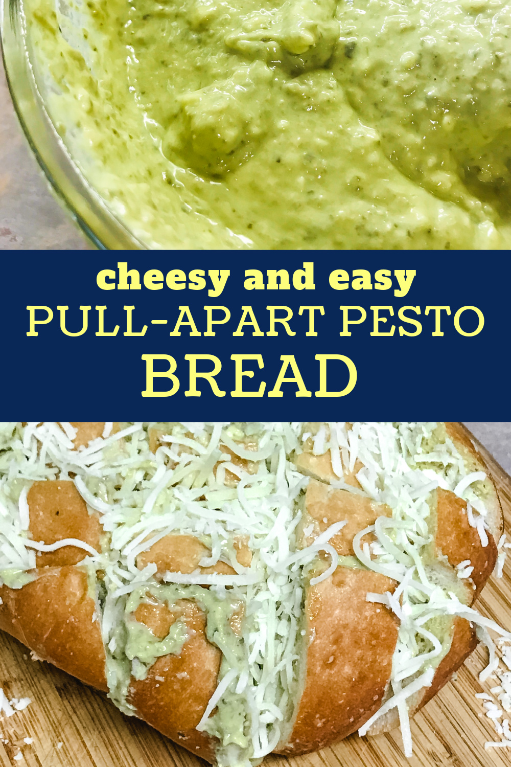 Creamy pesto in a bowl with a loaf of Cheesy Pull-Apart Pesto Bread.