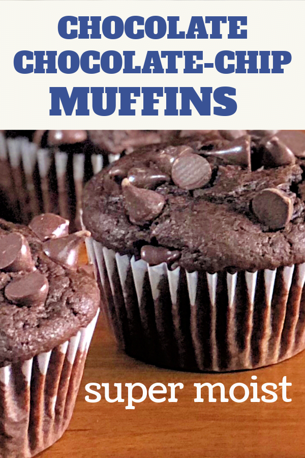 Several chocolate chocolate-chip muffins waiting to be eaten.