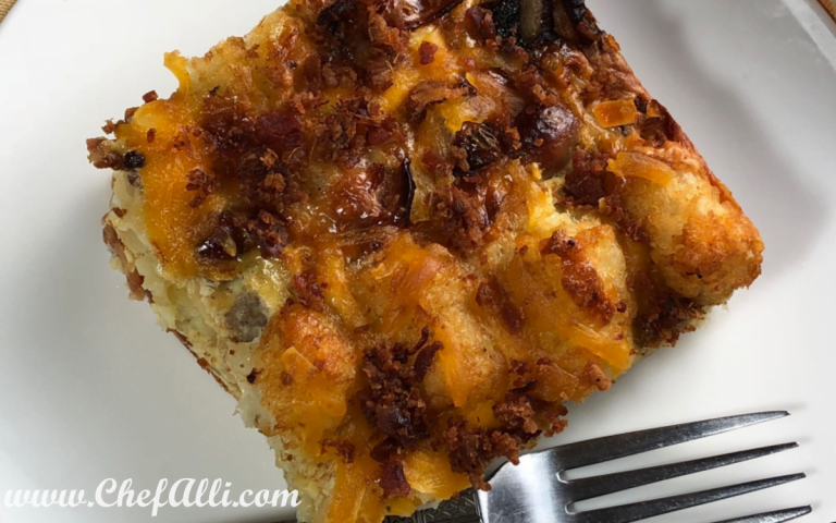 Spice up your morning with this Chipotle Ranch Tater Tot Breakfast Casserole