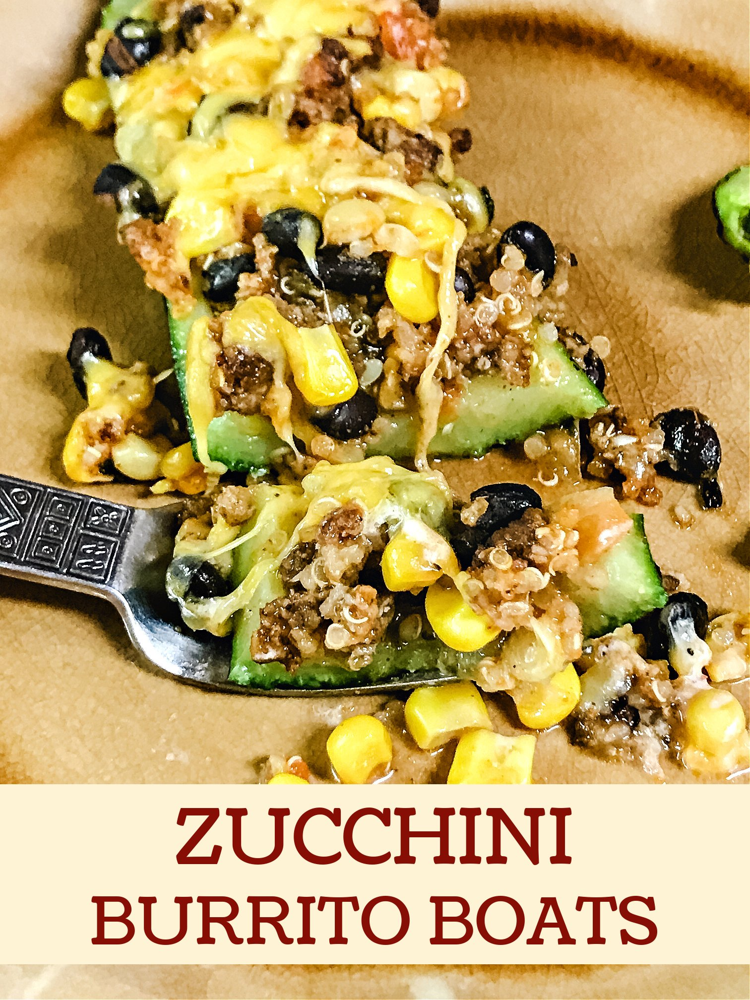 Forkful of black bean and corn filling with a zucchini.
