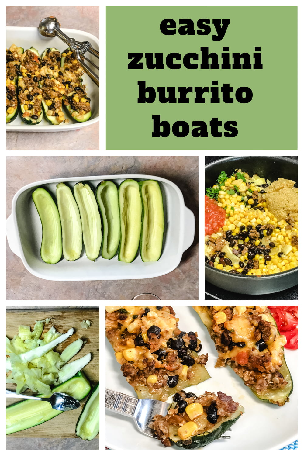 The steps for making mexican zucchini boats.