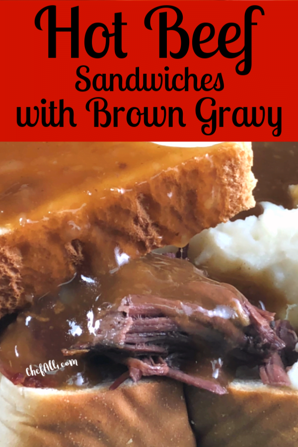 Close up of hot beef sandwich with gravy