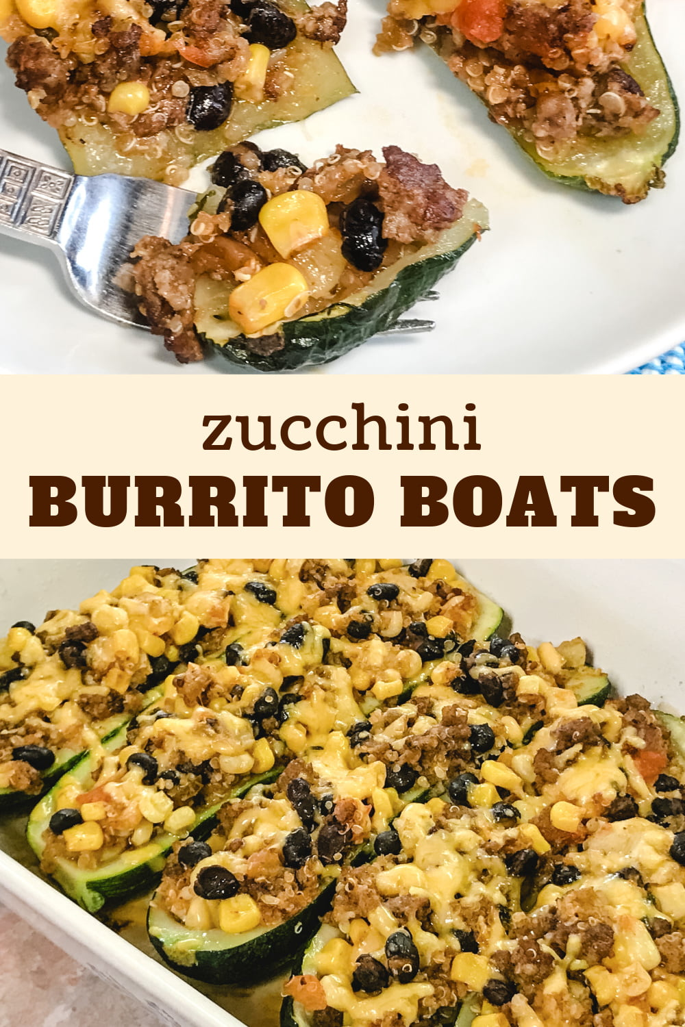 Zucchini boats with black bean filling.