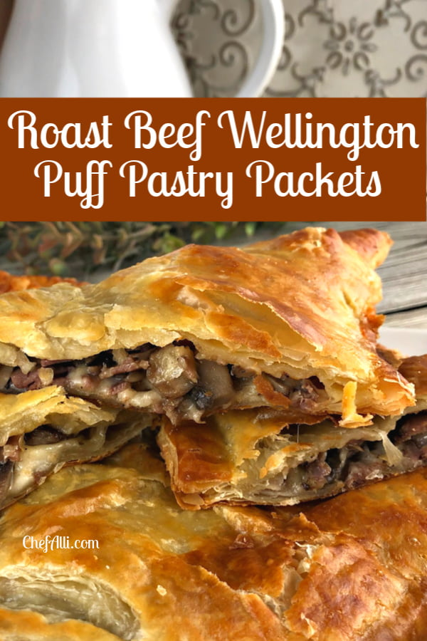A stack of Roast Beef Wellington packets on a platter.