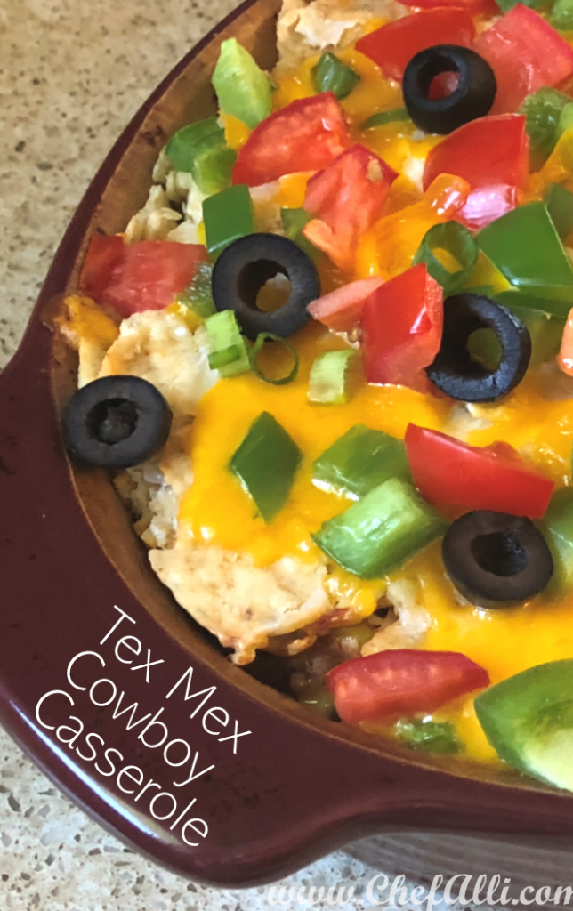 Oh my gosh, my guys LOVED this beefy Tex Mex Cowboy Casserole. It really brought out the Cowboy in them! This easy casserole is packed with Tex Mex flavors and textures, from the smooth sour cream to the crunchy tortilla chips. My family loved it, and I know yours will, too! #casserole #weeknightdinner #texmexrecipe