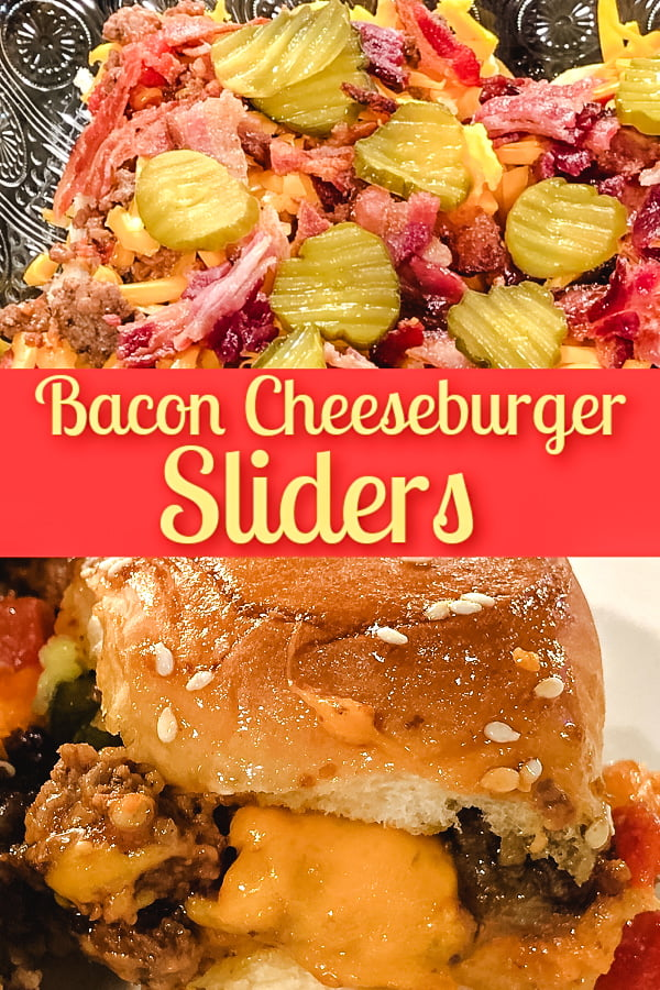 Top view of assembling bacon cheeseburger sliders with a completed slider at the bottom.