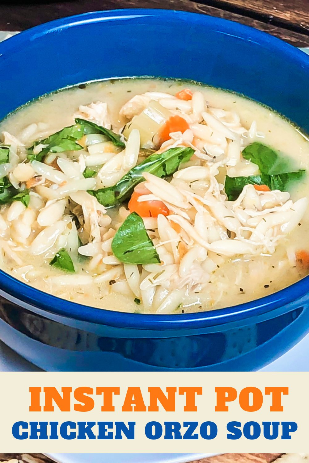 Chicken orzo soup in a blue bowl.