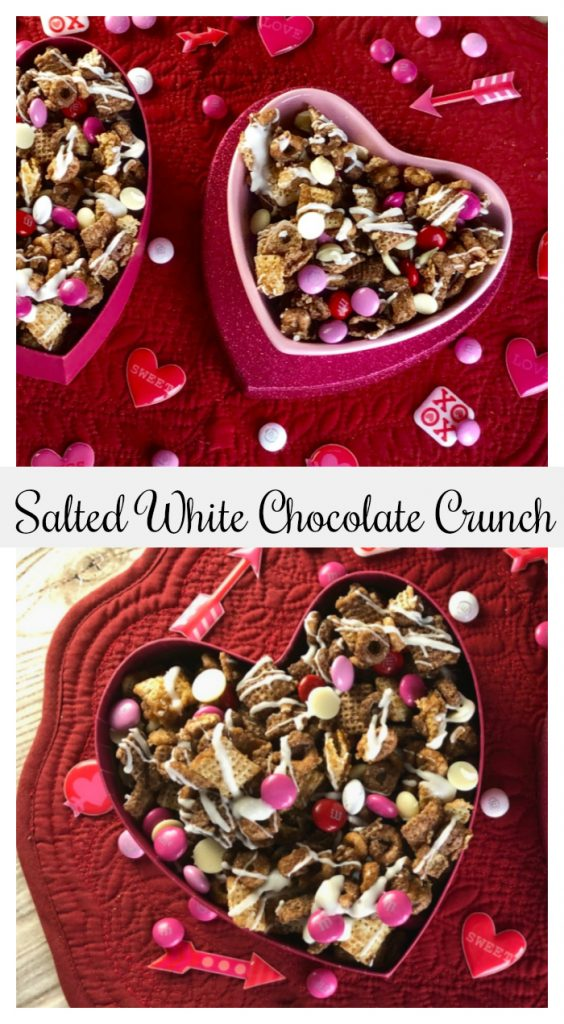 Craving a little salty/sweet crunchy combo? This munch mix is super simple and crazy addictive..watch out! My family has a definite love/hate relationship with this Salted White Chocolate Crunch, and I'm betting yours will, too.