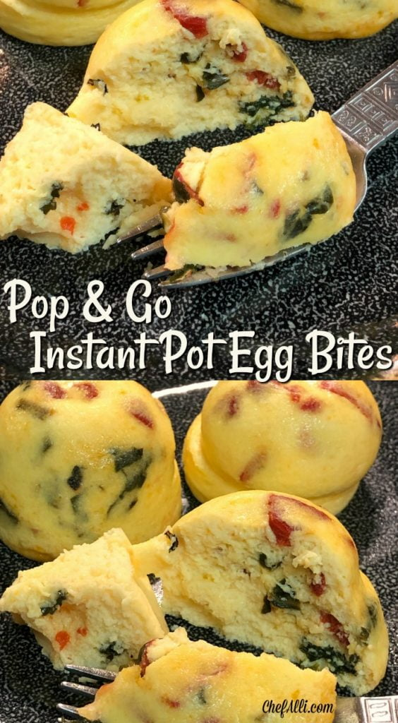 Who loves a breakfast treat that can walk out the door with you?? We sure do. My family is always on the run, so it's great to have a super tasty hand-held egg snack that can go with you. I don't know about you, but sometimes I get tired of boring ole hard-boiled eggs as a snack. When I first made these Pop-And-Go Instant Pot Egg Bites in my Instant Pot, I was super excited at how flavorful they are.....we ate the entire batch of 6 almost immediately!