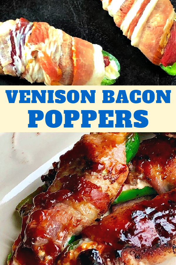Grilled jalapeno poppers wrapped in bacon and slathered with bbq sauce.
