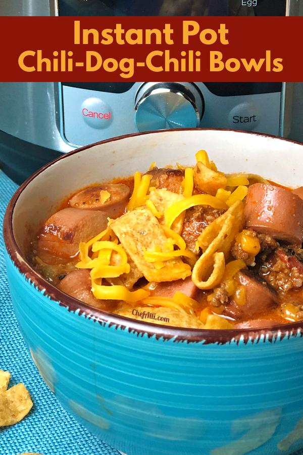 Enjoy an Instant Pot Chili-Dog-Chili Bowls
