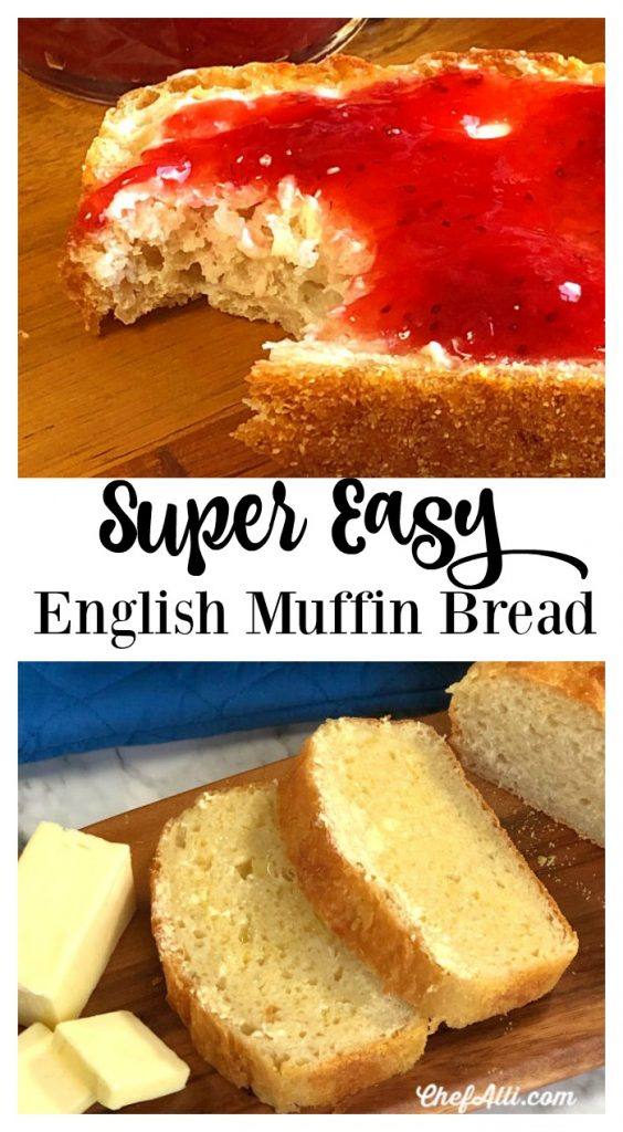 Slices of English Muffin Bread with butter and strawberry jam.