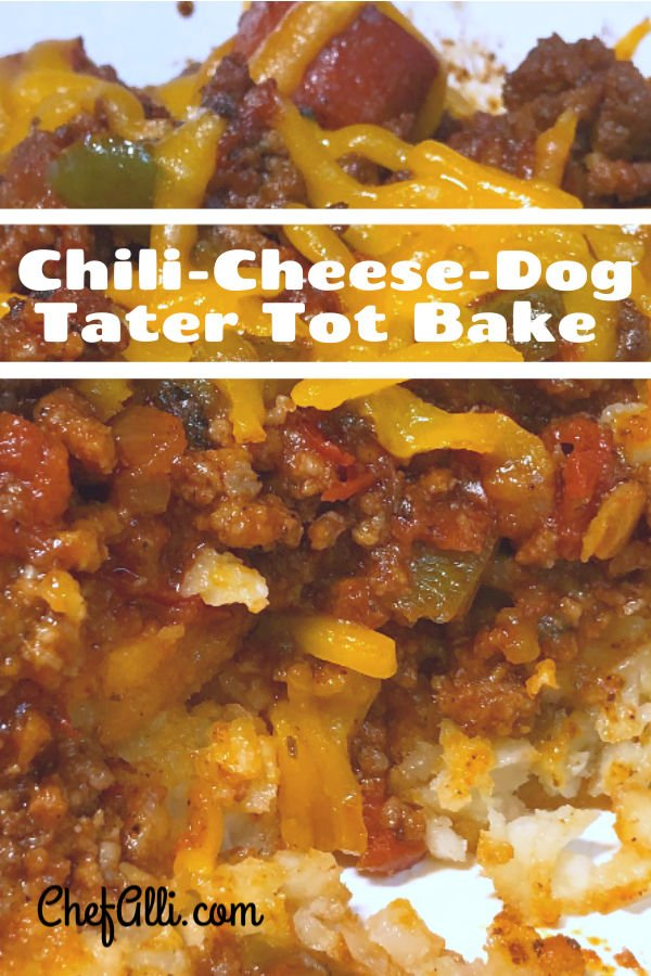 Yep, it's your lucky day. You've just found THE BEST Chili-Cheese Tater Tot Bake recipe in the land! This cheesy baked casserole is made with ground beef and makes an easy week night dinner and make-ahead meal. When you take this comfort food casserole to your next potluck dinner, be ready to share the recipe! #chili #cheesy #tatertot #casserole #baked #easy #dinner #hotdog #potluck