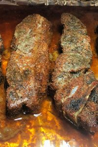 Cooked ribs with no sauce.