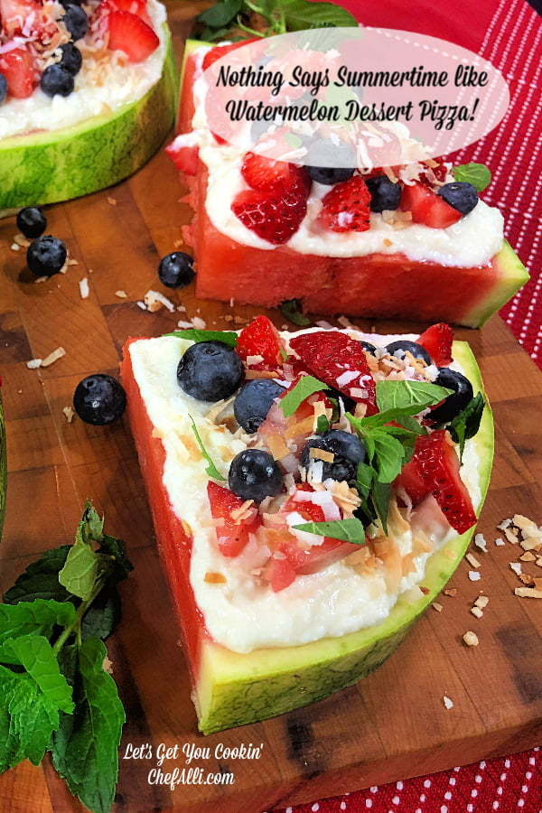 Nothing says summertime like a slice of Watermelon Dessert Pizza. This easy, low-carb treat is a breeze to make and looks so refreshing when you add the berries and mint. When hot days call for a refreshing, cool and healthy dessert, you'll have the perfect solution. #