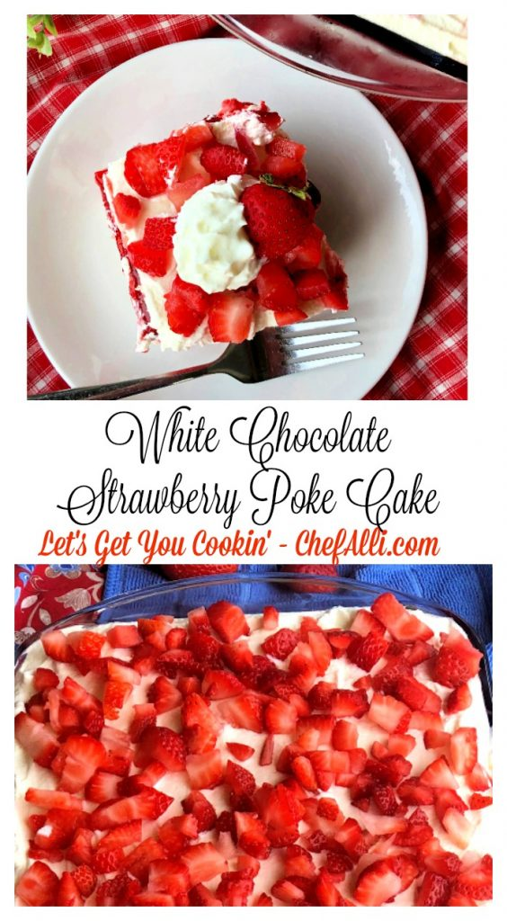 White Chocolate Strawberry Poke Cake....even the name sounds dreamy, creamy, and chill! This is the perfect strawberry cake for the long, hot days of summer.