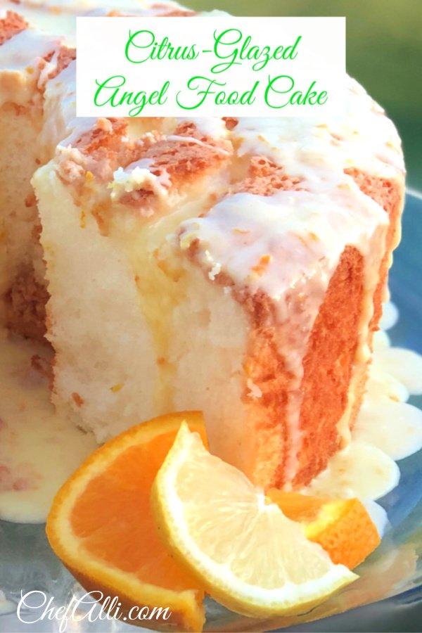 Citrus-Glazed Angel Food Cake on a cake stand.