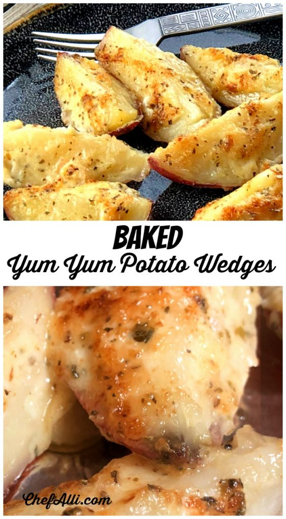 Here's your new show stealer: Baked Yum Yum Potato Wedges! I love to find an empty pan after a meal, and that's exactly what you can look forward to. Nobody can resist these potato wedges with their golden brown, melted topping - they are just irresistible! #potatobake #potatoes #yummy #potatowedges #bakedpotatoes