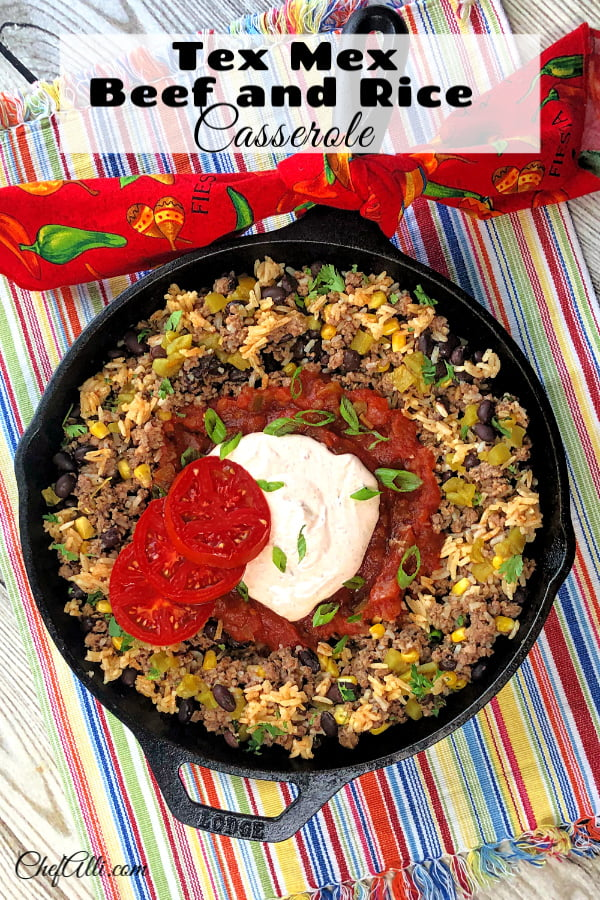 My guys love this one-pan Tex Mex Beef and Rice Casserole meal! I love having another recipe that turns ground beef into a masterpiece that's easy, flavorful, and fast. I made this in my cast iron skillet, but it also works great baked in a casserole dish. #TexMex #GroundBeef #EatBeef #BeefAndRice #Easy #Fast #SkilletMeal #OnePanMeal
